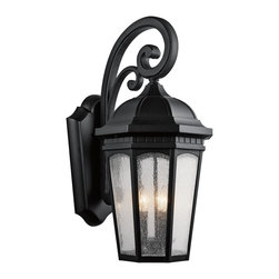 Kichler Lighting - Kichler Lighting Courtyard Traditional Outdoor Wall Sconce X-TKB5309 - Uncluttered and traditional, this 3 light outdoor wall lantern from the Courtyard&trade: collection adds the warmth of a secluded terrace to any patio or porch. Featuring a Textured Black finish and Etched Seedy Glass, this design will elevate and enhance any space.