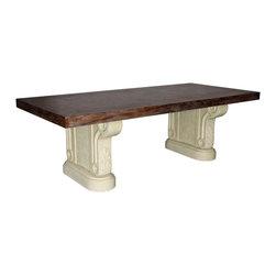 "GILANI - Cast Stone Dining Table Base (2 Pedestals) - Cast Stone Dining Table Base (2 Pedestals) (Wide). Style no. DT11900. 38""w x 10""d x 29 1/2""h."