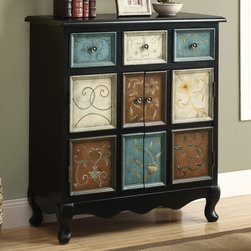 Monarch - Distressed Black/Multi-Color Apothecary Bombay Chest - Spice up your home with this classic traditional hand painted accent chest. Warm hues create a tasteful touch of class with drawers and doors for ample storage. Perfect for small areas and narrow hallways.