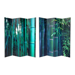 Oriental Furniture - 6 ft. Tall Double Sided Bamboo Tree Canvas Room Divider 4 Panel - A larger sized room divider, crafted from durable art canvas stretched over four strong kiln dried wood frames. On both the front and back, we've printed beautifully cropped color photographs of deep emerald green bamboo forests, creating a unique Asian style decorative accent.