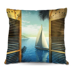 DiaNoche Designs - Pillow Woven Poplin by Mark Watts Set Sail - Toss this decorative pillow on any bed, sofa or chair, and add personality to your chic and stylish decor. Lay your head against your new art and relax! Made of woven Poly-Poplin.  Includes a cushy supportive pillow insert, zipped inside. Dye Sublimation printing adheres the ink to the material for long life and durability. Double Sided Print, Machine Washable, Product may vary slightly from image.