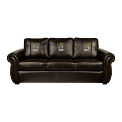 Dreamseat Inc. - The Incredible Hulk Chesapeake Black Leather Sofa - Check out this Awesome Sofa. It's the ultimate in traditional styled home leather furniture, and it's one of the coolest things we've ever seen. This is unbelievably comfortable - once you're in it, you won't want to get up. Features a zip-in-zip-out logo panel embroidered with 70,000 stitches. Converts from a solid color to custom-logo furniture in seconds - perfect for a shared or multi-purpose room. Root for several teams? Simply swap the panels out when the seasons change. This is a true statement piece that is perfect for your Man Cave, Game Room, basement or garage.