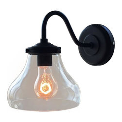 WestMenlights - Clear Glass Wall Sconce - Materials: Vintage Iron, Glass