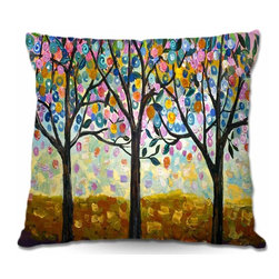 DiaNoche Designs - Pillow Woven Poplin from DiaNoche Designs - Flowering Season - Toss this decorative pillow on any bed, sofa or chair, and add personality to your chic and stylish decor. Lay your head against your new art and relax! Made of woven Poly-Poplin.  Includes a cushy supportive pillow insert, zipped inside. Dye Sublimation printing adheres the ink to the material for long life and durability. Double Sided Print, Machine Washable, Product may vary slightly from image.