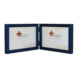 "Lawrence Frames - 4x6 Hinged Double (Horizontal) Blue Wood Picture Frame - Gallery Collection - This wood picture frame is the same you will find in studios and galleries and is the perfect frame for simply and elegantly framing any image.  It is a high quality wood frame joined in the corners with a ""spline"" joint.  The molding is approximately 1 2 "" and is the perfect frame to use for a wall gallery.  This picture frame comes individually boxed, and includes high quality black backing with hangers for wall mounting."