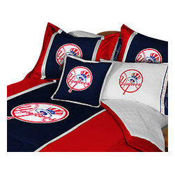 Store51 LLC - MLB New York NY Yankees Baseball Team 5 Piece Queen Bedding Set - Features: