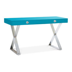 Turquoise Channing Desk - This Limited Collector's Edition desk is absolutely stunning. In turquoise lacquer with lucite and nickel, this would make your office a real showstopper.