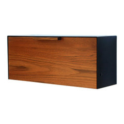 """CeCe Works - Teak and Stainless Steel Mailbox, Black - This Stainless Steel and Teak mailbox measures 18""""W x7""""H x 5 1/2""""D. The mailbox is designed after the 1950's black mailbox that used to hang on my house. I loved the way it functioned so much that I replicate it but gave it an updated modern look. The wood gives it warmth while the thick 14ga Stainless Steel makes it sturdy. It easily attaches to the wall with two keyhole brackets located on the back of the box. The teak is finished with a UV protective finish. Interior dimensions are 17""""W x 6 3/4""""H x 4""""D."""