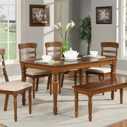 Wooden Imports Furniture - Table Set in Dark Oak Finish - Includes table, 4 cushioned chairs and 1 wood bench. 100% Solid Parawood. Environmentally conscious. Table: 60 in. L x 36 in. W x 30 in. H (77 lbs.). Chair: 18 in. W x 18.75 in. D x 39.50 in. H (19 lbs.). Bench: 48 in. W x 14.25 in. D x 18 in. H (28 lbs.)