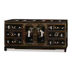 """China Furniture and Arts - 72in Black Lacquer Mother of Pearl Motif Sideboard - This beautiful sideboard with mother of pearl ladies is a perfect addition to your hallway, dining room or bedroom. Design continues on the top and the sides of the cabinet. Six large felt-lined drawers and a two-door cabinet provide ample storage space with a removable shelf stored inside for your convenience. Black lacquer is hand painted on layer after layer to a shiny finish. Solid brassware matches the gracefulness of the cabinet's gold edges. A 1/4"""" glass top is included. (White-Glove service available upon request, please call for rate quote). Please see matching night stand Part No. MEC03MBG-WG, mirror Part No. : MMI05MBG-WG"""