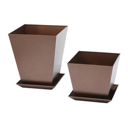 Phat Tommy - 2-Piece Planter Set in Copper - Includes small and large planter with matching trays