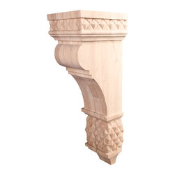 Hardware Resources - Rubberwood Diamond Colonial Corbels - Diamond Colonial Style Corbel 6-3/4In. x 7-3/4In. x 22In.. Species: Rubberwood. Made in the USA.