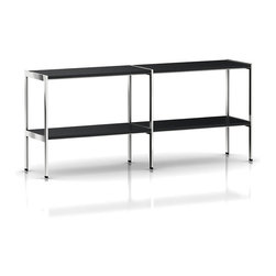 Geiger - H Frame Credenza, Open Shelf - This versatile credenza delivers lots of room to store books or display collectibles and other accessories in style. Warm shelves are contrasted against the cool metal frame, for a handsome appearance.