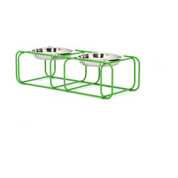 Doca Pet - Wire and Dine, Small - Feed your Fido in style and comfort with this wire-frame doggie diner. The contemporary wire frame recedes into your decor. Made in Chicago, it includes two gleaming dog dishes.