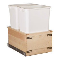 "Century Components - Century Components 35 Qt Double Soft Close Pull Out Waste Bin - Maple, 14-7/8"" - 35 Qt White Double Blum Bottom Mount Kitchen Pull Out Waste Bin Container - 14-7/8""W x 19""H x 21""D. This unit is designed to be inserted into a new or existing cabinet w/ an opening width of 15""-18"" & features (2) 35 Quart waste bin containers. Century Components SIGBM14PF is made from Solid Wood Maple Box with Dovetail Construction with a clear natural finish for great appearance, quality and durability."