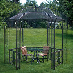 Parisian Gazebo - Serve dinner al fresco and create an evening to remember inside our enchanting Parisian gazebo. A combination of taste and quality at over 10? square, it's large enough to function as your favorite outdoor room! Side railings add visual interest to the sides and a generous roof accented with screened panels provides a bit of extra shading beneath. Powder coated wrought iron creates a maintenance free structure and a delightful addition to your landscape you'll enjoy for years to come.