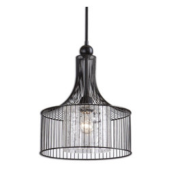 Uttermost - Carleton 1-Light Pendant - Make a statement on your ceiling. This striking pendant mates matte black metal to crackled glass for a vibe that's clean, cool and refreshingly modern.