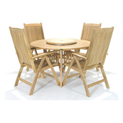 Westminster Teak Furniture - Grand Hyatt Round 5pc Teak Dining Set - Classic teak outdoor furniture dining set includes four Westminster Reclining Dining Chairs combined with a Grand Hyatt 4 ft round teak table that has our new blocked leg design.  Recliner chairs fold for easy storage.  Umbrella Ready.  Lifetime Warranty.