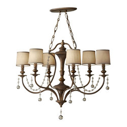 Murray Feiss - Murray Feiss Clarissa 1 Tier Chandelier in Firenze Gold - Shown in picture: Clarissa Single - Tier in Firenze Gold finish with Burnt Copper On Styrene Hardback