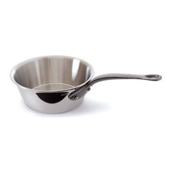 Mauviel - Mauviel M'cook Stainless Steel Splayed Saute, Cast Iron Handle, 0.9 qt. - 5 ply Construction - High performance cookware, works on all cooking surfaces, including induction.