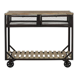 Safavieh - Shroder Rolling Console - Bring contemporary industrial style to any room with the Shroder Rolling Console. Its fir wood with natural finish for a reclaimed look lends a warm touch to its bold metal finish. And its portability makes it an ideal friend in the kitchen, office-or even as a bar cart in the dining room.