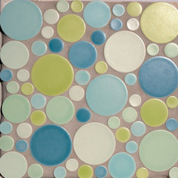Sealife and Pond Themes - Pratt and Larson's Multi-size circle mosaic (MO-DMUL) in a soft green and blue palette. Available in any of our 300+ glaze options.