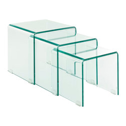 Modway Furniture - Modway Cascade Coffee Table in Clear - Coffee Table in Clear belongs to Cascade Collection by Modway Flow forth with existential leaps in a three-fold process of discovery. The Cascade Glass Nesting Table Set signifies an exhibition that takes you and your acquaintances into the realm of exponential growth. Convenient and stylish, add a motivating force to your decor with these compact and tuck-away tables. Set Includes: One - Large Transparent Glass Coffee Table One - Medium Transparent Glass Coffee Table One - Small Transparent Glass Coffee Table Coffee Table (1)