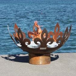 """John Unger/Garden Artist - Fiery Fleur-de-Lis Modern Firebowl 37"""" Diameter Firebowl -"""