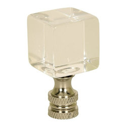 """LampsUSA Finials - 1"""" Cube Finial Polished Silver C106S - Want to add some Sparkle and Brillance to any room? This is the perfect finial for you. Don't just top off your lamp- pick this finial and add some Pizazz and let the world see your flashy side. All finials have a standard 1/4-27 thread--which will fit the harp on almost every lamp."""