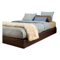 Howard Elliott - Avanti Queen Platform Bedroom Set (Kit & Cover) - Convert a basic Boxspring into a Platform Bed using HECs Boxspring Slip-cover & Frame Support. Simply fasten the Frame Support to your current Boxspring then slip on the cover (included). It really is that easy! Boxspring Mattress sold separately. Includes frame supports, hardware, feet & cover. Fits most standard size boxspring mattresses. Deep Pecan Brown Faux leather cover provides the perfect base for your bedding. Finish the look by adding 8 of the Avanti Pecan Pixels #PB2-192.