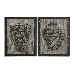 Rustic Conch Shells Art S/2 - Laser Cut, Metal Design Finished In A Lightly Distressed, Rustic, Dark Bronze With Silver Undertones And An Aged Wood Background.