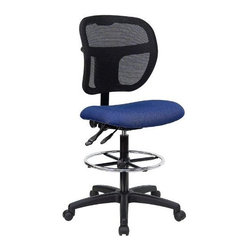 "FlashFurniture - ""FlashFurniture Mid-Back Mesh Drafting Stool with Fabric Seat, Navy ..."" - ""Drafting Stools can be used in a multitude of environments including School, Work and for the Home. Drafting stools makes it easier for the user when they need or prefer more height to comfortably get in and out of chairs. The breathable mesh back keeps you cool when sitting for long periods of time. The firm, comfortably padded seat will keep you at ease during work or while leisurely browsing. [WL-A7671SYG-NVY-D-GG].Dimensions (W x L x H): 24.5"""" x 25.25"""" x 47.5""""Weight: 6.95 lbs.Mid-back multi-functional mesh drafting stool, 25-1/4-inch width by 24-1/2-inch depth by 40 47-1/2-inch heightBreathable black mesh backStain resistant navy blue fabric upholstered seat3-inch Thick Foam Padded SeatBuilt-in lumbar support"""