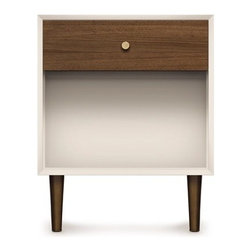 Copeland Furniture - Copeland Furniture | MiMo 1 Drawer Nightstand - Made in Vermont by Copeland Furniture. The MiMo Bedroom Collection by Copeland Furniture is defined by the combination of minimalist design and elegant materials. The MiMo 1 Drawer Nightstand features metallic and walnut accents that are merged with a stark, white finished nightstand frame. The mix of materials and finishes results in a modern bedside table that is refined and timeless. The MiMo 1 Drawer Nightstand is crafted with solid maple hardwood with a white finish, American black walnut hardwood with a natural finish, and metallic legs and drawer knob. Available in your choice of metallic leg and knob finish.  Product Features:  Crafted from solid maple and American black walnut Finished with a silky, smooth to the touch top coat Crafted from sustainably harvested hardwoods from the American Northern Forest All lumber comes from within 500 miles of Copeland Furniture's factory in Vermont