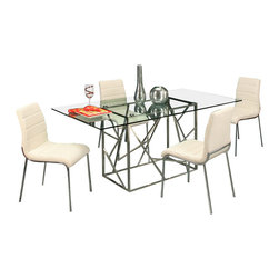 """Pastel Furniture - Pastel Firouzeh 5-Piece Rectangular Dining Room Set with Fort James Side Chairs - The Firouzeh dining table with 70"""" x 39"""" rectangular glass top with a unique and intricate stainless steel base design. This beautifully made table will add style and beauty to your dining area. The fort James side chair exemplifies handsome proportions and bold design. With simple lines mixed with curves for comfort, this beautiful chair adds style and elegance to the dining experience. The chair is upholstered in PU ivory or PU black with a chrome frame."""