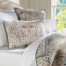 Genevieve Voile Quilt, Full/Queen, Multicolor - This bedding's Arts & Crafts motif - found on an antique tile - is hand quilted with the same attention to quality, craftsmanship and beauty that inspired the original design. Made of pure cotton. Pure cotton batting. Hand quilted. Quilt and sham reverse to self. Sham has an envelope closure. Quilt, sham and insert sold separately. Machine wash. Catalog and Internet only. Made in India.