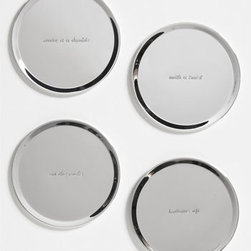 Kate Spade New York 'Silver Street' Coasters - kate spade's quirky quips on this set of silver coasters are sure to get the party started. Bottoms up!