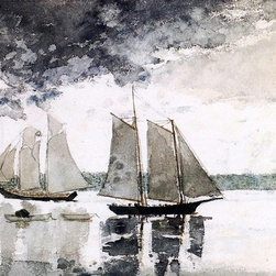 "Winslow Homer Two Schooners (Two Sailboats)   Print - 16"" x 24"" Winslow Homer Two Schooners (also known as Two Sailboats) premium archival print reproduced to meet museum quality standards. Our museum quality archival prints are produced using high-precision print technology for a more accurate reproduction printed on high quality, heavyweight matte presentation paper with fade-resistant, archival inks. Our progressive business model allows us to offer works of art to you at the best wholesale pricing, significantly less than art gallery prices, affordable to all. This line of artwork is produced with extra white border space (if you choose to have it framed, for your framer to work with to frame properly or utilize a larger mat and/or frame).  We present a comprehensive collection of exceptional art reproductions byWinslow Homer."