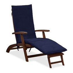 Sunbrella(R) Steamer Single Chaise Cushion, Solid, Navy - Add the finishing touch to outdoor furniture with our plush, colorful cushions. Designed to be fade resistant, weather resistant, quick to dry and soft to the touch, they're the perfect match for the strength and durability of our Chatham Collection. Click to read an article on {{link path='pages/popups/chatham-care_popup.html' class='popup' width='640' height='700'}}recommended care{{/link}}. Thick, comfortable cushions are available in water-repellent ring-spun polyester canvas or Sunbrella(R) fabric. Machine wash removable slipcover. Spot clean nonremovable slipcover. Sunbrella(R) cushions and slipcovers are special order items which receive delivery in 3-4 weeks. Please click on the shipping tab for shipping and return information. Imported. View our {{link path='pages/popups/fb-outdoor.html' class='popup' width='480' height='300'}}Furniture Brochure{{/link}}.