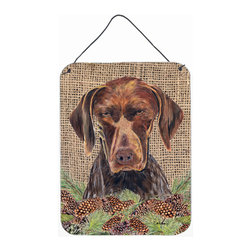 Caroline's Treasures - German Shorthaired Pointer Aluminium Metal Wall Or Door Print - Great for inside or outside these Aluminum prints will add a special touch to your kitchen, bath, front door, outdoor patio or any special place.  12 inches by 16 inches and full of color.  This item will take direct sun for a while before it starts to fade.  Rust and Fade resistant.  Aluminum Print with Hanging Rope.  Rounded Corners.