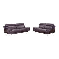 """ACPMason - 2 pc Mason espresso bonded leather sofa and love seat set with modern styling - 2 pc Mason espresso bonded leather sofa and love seat set with modern styling and chrome legs.  This set features sofa and love seat set with chrome legs and modern styling .  sofa measures 89"""" x 39"""" x 36"""" .  love seat measures 74"""" x 39"""" x 36"""" H.   Some assembly required."""