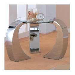 Coaster - Custer Contemporary Round End Table - Sleek round beveled glass table top. Daring metal legs showing off distinctive curves. Shiny chrome finish. 39 in. Dia. x 27.88 in. H. Warranty