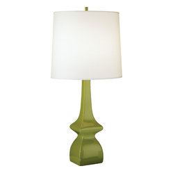 Robert Abbey - Jayne Table Lamp - Avocado green is a great neutral to work into countless color palettes. Work this classic lamp base into your living room, bedroom or office for a warm and sophisticated look. All you need to do is choose between a crisp white or beige shade.