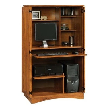 Sauder - Harvest Mill Computer Armoire in Abbey Oak Fi - Conceals monitor, printer, CPU, speakers and CDs. Slide-out keyboard, mouse shelf and printer shelf with metal runners and safety stops. Dedicated storage area accommodates vertical CPU tower. Horizontal rack holds 14 CDs. 2 adjustable shelves provide versatile storage options. Made of engineered wood. Assembly required. 31 in. W x 21 in. D x 54 in. H