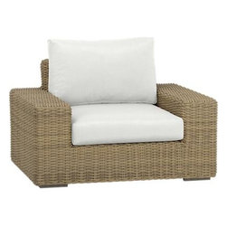 Newport Lounge Chair with Sunbrella® White Sand Cushions - Low-slung and lounge-worthy, our Newport collection extends a welcome invitation to kick back and relax. Modern, squared profiles mix and match to suit your space, handwoven in a contemporary, chunky weave of eco-friendly, care-free resin wicker neatly wrapped over clean aluminum frames with a taupe powdercoat finish. Warm white sand cushions add a soft silhouette in fade-, water- and mildew-resistant Sunbrella® acrylic fabric.