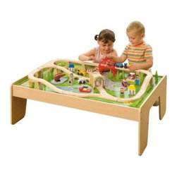 Bigjigs Toys Train Table Set - Your busy bee will love playing with the Bigjigs Toys Train Table Set. This complete train table set includes 59 bright, colorful pieces loaded with detail. The table is just the right size for your toddler to play comfortably. This train table set is recommended for children three and older. All pieces are crafted of wood with safe, smoothed edges. They're painted with kid-friendly paints and lacquer for incredible durability and years of fun.About Bigjigs ToysBigjigs Toys began as a family business in 1985 and through their dedicated staff it has expanded into an extended Bigjigs family. Founded in the South East Coast of England with a line of wooden puzzles, Bigjigs Toys now has over 1,400 products, five product ranges, and is available in over 50 countries worldwide. Bigjigs cares about the safety of your children and their toys. All Bigjigs toys are fully tested to meet and exceed EN17 and F963 requirements. Child-friendly paints, stains, and lacquers make them fun, colorful, and extra safe.