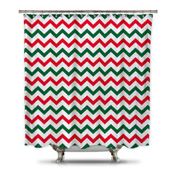 Shower Curtain HQ - Red and Green Chevron Shower Curtain, Standard Size - Red and Green Chevron fabric shower curtain.