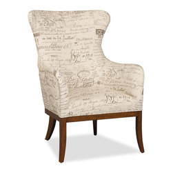 """Hooker Furniture - Decorator Chair - Accent Chair 13 - White glove, in-home delivery!  For this item, additional shipping fee will apply.  Fabric: Document Fossil  Finish: Felton  Seat height: 18 1/2""""  Seat depth: 21""""  Arm height: 25 1/2"""""""