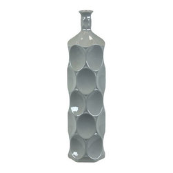 "Benzara - Ceramic Bottle With Circular Embedded Design Body in Gray (Large) - A multiversatile decor item that will enhance and accentuate your interior decor, the Unique Ceramic Bottle With Thin Mouth and Circular Embedded Design Body in Gray (Large) features a lovely slim mouth and a stylish circular embedded design on its body. This ceramic bottle can be used as a standalone decor item or be paired with flowers to decorate and add color to your mantle place, desk or table. The dimensions of the Unique Ceramic Bottle With Thin Mouth and Circular Embedded Design Body in Gray (Large) are 5.5""x22""H. Ceramic; Gray; 5.5""x22""H; Dimensions: 0""L x 6""W x 22""H"