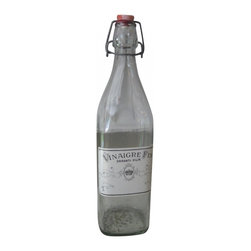 Vinegar Label Bottle - Antique French vinegar labeled bottle would add nicely to that sophisticated collection on your shelf.  Simple, clean but full of character.