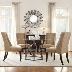Inspire Q - INSPIRE Q Concord 5-piece Black Nickel Plated Mocha Chenille Dining Set - Enhance your modern dining room decor with the Kona 5-piece dining set. The gorgeous hexagon design base in black and nickel finish contrasts beautifully with the upholstery in a light brown finish.